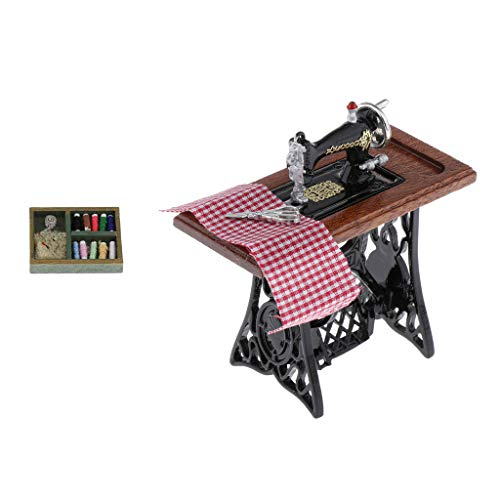 VANKOA 1/12 Nähmaschinen Sewing Box Set Knitting Threaded Spool Holzband Dollhouse Decor
