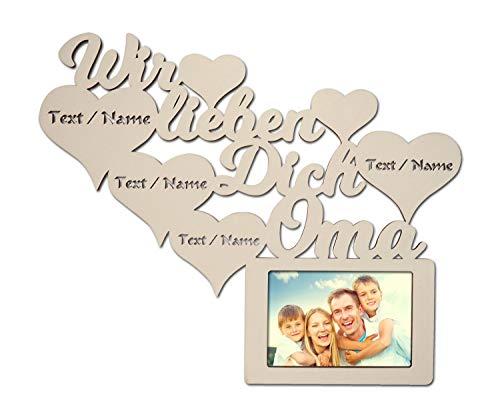 Namofactur Geschenke für Oma zum Geburtstag I Wir lieben Dich Beste Oma der Welt Bilderrahmen für 10 x 15 cm Foto Geburtstagsgeschenke personalisiert