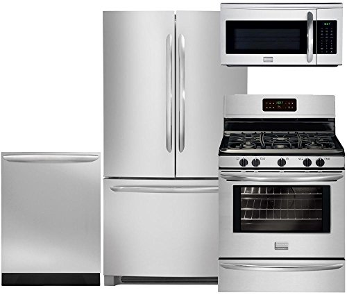 """Frigidaire Gallery 4-Piece Stainless Steel Set FGHN2866PF 36"""" French Door Refrigerator, FGGF3030PF 30"""" Gas Range, FGID2466QF Fully Integrated Dishwasher and FGMV175QF Over the Range Microwave"""