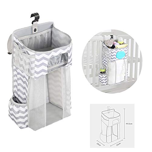 TOFOAN Hanging Diaper Caddy, Baby Bed Hanging Organizer, Nursery Organization Baby Diaper Holder, Diaper Stacker Storage for Crib, Playard, Changing Table or Wall (Gray&White) (Gray&White)