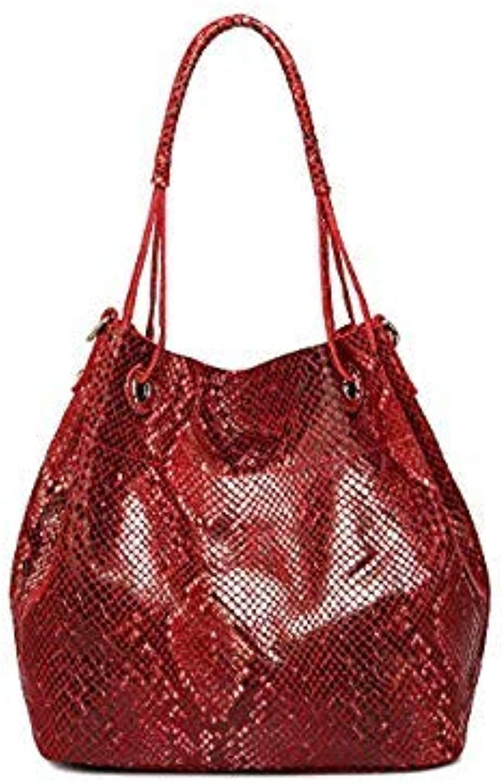 Bloomerang LUCDO Brand Genuine Leather Bag Women Leather Tote Bag Shoulder Bags Serpentine Snake Skin Pattern Luxury Handbags Designer Sac color Red L31 x W16 x H34 cm