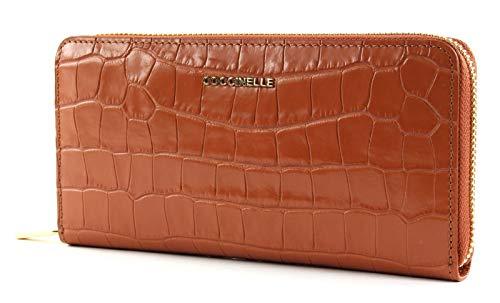 Coccinelle Metallic Croco Shiny Soft Zip Around Wallet Tan