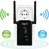 Aigital WLAN Router, 300Mbit/s WLAN Repeater Verstaerker Range Extender Wi-Fi Signal-verstärker Wireless Access Point 2.4GHz mit WPS Funktion Willigt IEEE802.11n/g/b