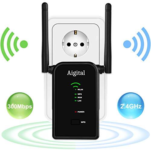 Aigital WLAN Router, 300Mbit/s WLAN Repeater Verstaerker Range Extender Wi-Fi Signal-verstärker Wireless Access Point 2.4GHz mit WPS Funktion Willigt IEEE802.11n/g/b