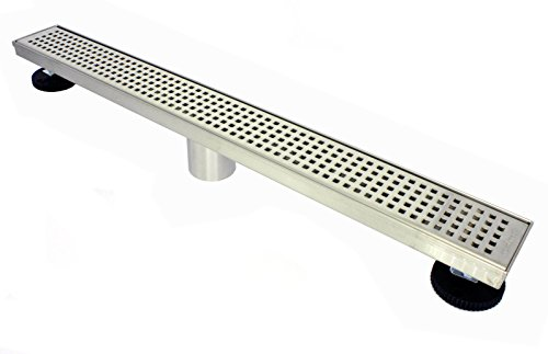 Novalinea ZA Linear Shower Drain (28 Inch BRICK Pattern) Sleek and Modern Brushed Stainless Steel, with Hair Strainer, Leveling Feet and Threaded Adapter