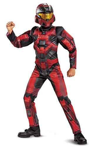 Disguise Disfraz Oficial Halo con msculos Spartan 1 Keystone Clsico Rojo para Nios - Talla Extra Grande