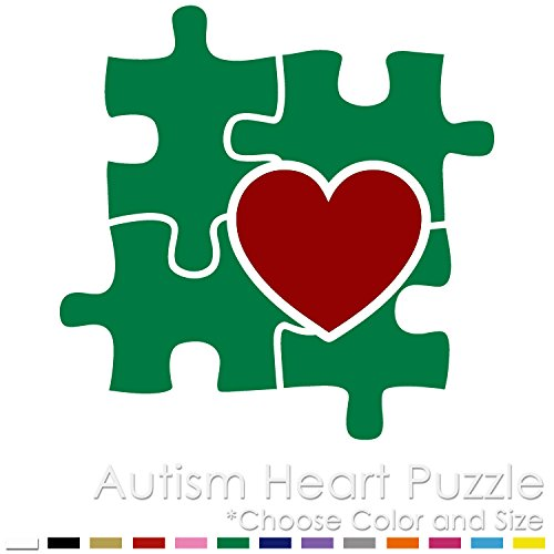 Autism Awareness Two Colors Heart Puzzle Vinyl Decal Sticker AA-06