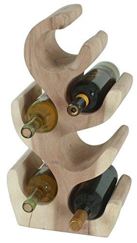 Garden Pleasure Suar Holz Flaschenregal für 6 Flaschen Weinregal Flaschenständer Weinflaschenhalter Massivholz natur