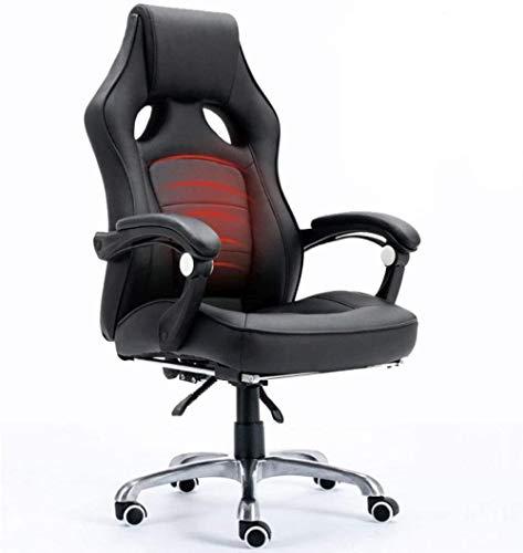 JYHS Silla de ordenador reclinable para el hogar, silla de oficina, masaje, silla giratoria, silla de cuero, estilo deportivo, rojo, beige, color: negro cómodo (color: negro)