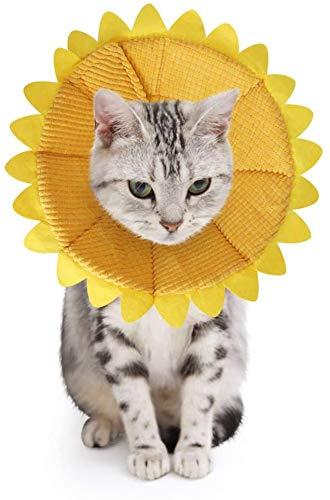 SLSON Collari Protettivi per Gatti e Collari Regolabili a Forma di Cono per Collari Curativi per Il Recupero delle Ferite da Compagnia con Motivo a Girasole Giallo (S)