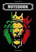 Notebook: Rasta Lion of Judah Rastafarian Reggae Ethiopian Lion, Journal 6 x 9, 100 Page Blank Lined Paperback Journal/Notebook