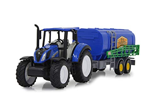 Jamara 460529 New Holland Traktor + Güllefaß Set 1:32 - offiziell lizenziert, Spielspaß für die kleinen Landwirte, detailgetreues Design, abnehmbarem Anhänger, blau