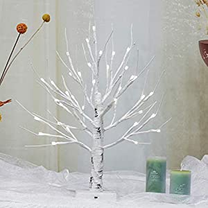 Brightdeco Lighted Birch Tree 18″ H 36 LED Artificial Bonsai Lamp Money Tree for Indoor Use Great Décor for Home Bedroom Halloween Thanksgiving Christmas Easter Wedding Party White