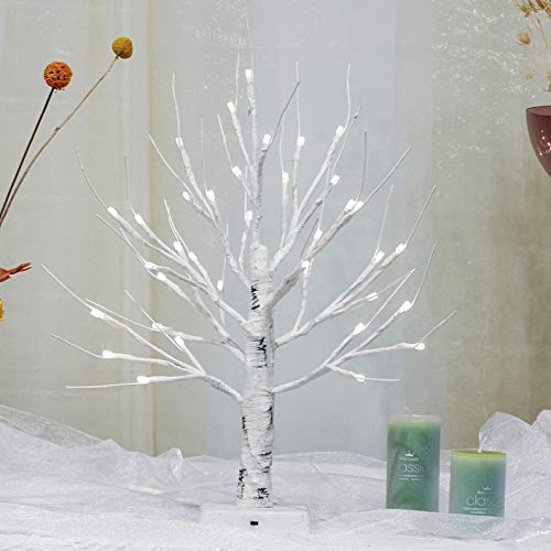 Brightdeco Lighted Birch Tree 18' H 36 LED Artificial Bonsai Lamp Money Tree for Indoor Use Great Décor for Home Bedroom Halloween Thanksgiving Christmas Easter Wedding Party White