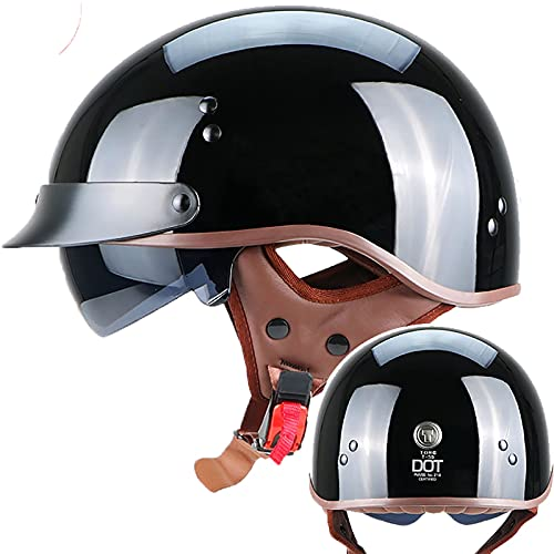 LPXPLP Vintage Casco De Motocicleta Cascos Abiertos De Moto ECE Homologado, Half-Helmet Casco Jet con Visera UV,para Hombres/Mujeres Adultos Medio Casco Casco De Seguridad 10,XL