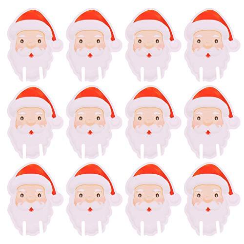 Amosfun 100 Piezas Tarjeta de Copa de Vino de Navidad Papá Noel Marcadores Etiquetas de Copo de Vino Decoración...