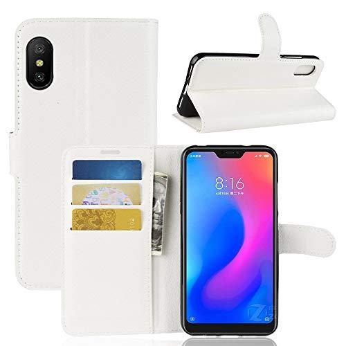 Lapinette Hülle Kompatibel mit Xiaomi Mi 8 Pro - Schutzhülle Klappbar Stoßfeste Folio - Lederhülle Xiaomi Mi 8 Pro - Wallet Kartenfächer Standfunktion Magnet Weiß
