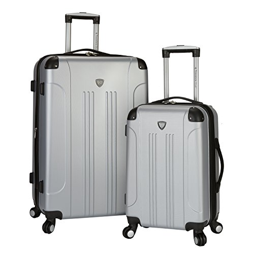 Travelers Club 2 Piece Original 'Chicago Collection' Hardside +25% Expandable Luggage Set Includes 28' Upright and 20' Carry-On Luggage, Silver Color Option
