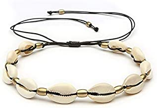 Cowrie Shell Necklace Fashion Gold Color Bead Cowrie Shell Choker Necklace for Women White Brown Black Rope Chain Necklace Beach Statement Collier