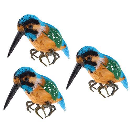 Fenteer 3pcs Lockvogel Papagei/Rabe/Eisvogel/Kolibri Tierfigur Vogelfigur Gartenfigur Garten Deko