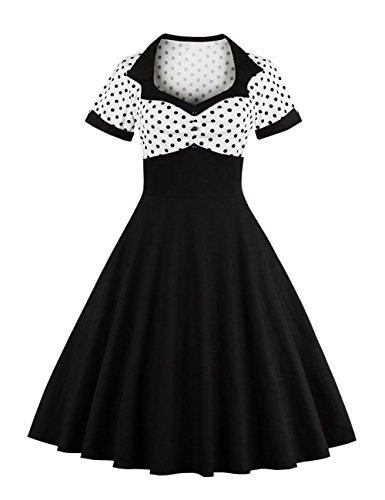 VKStar® Vintage 1950s Cocktailkleid Kurzarm Abendkleid mit Punkte Rockabilly Swing Kleid weiß L