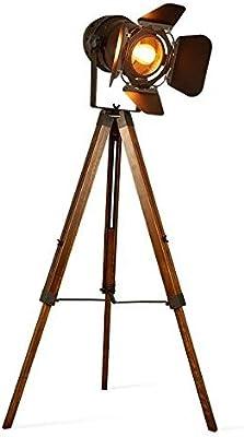 JACKJO LED Industrial lámpara de pie con Foco Retro Estudio Antiguo lámpara de Mesa de Madera Oscura diseñador Steampunk Marine Standing Retro Edison iluminación de película [Nivel de energía A +]: Amazon.es: