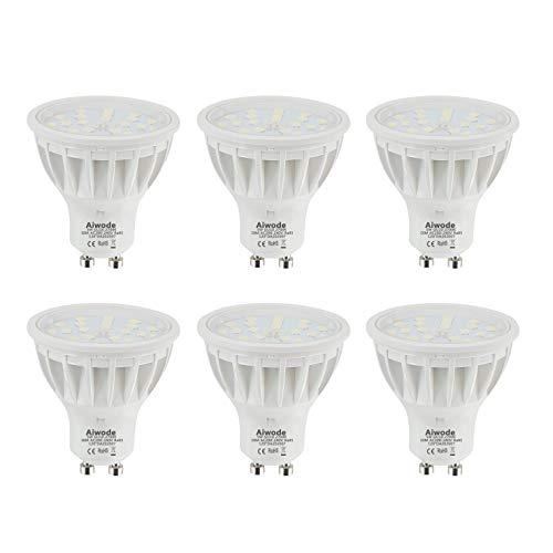 Aiwode Regulable Bombilla GU10 LED Equivalente a 50W Blanco Cálido 2700K RA85 600LM 120°Ángulo de haz,Paquete de 6.