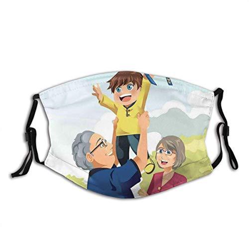 Gesichts-Mund-Schal, glücklicher Junge, der mit Großeltern im Park spielt Kindheitserinnerungen-Liebes-Karikatur, eleganter Mund-Gesichts-Schal für Arbeit 20x15cm
