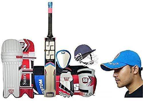 SS Economy - Juego completo de cricket para hombre, talla con bate de sauce de Cachemira, 100% original, marca y SIPL de algodón indio, gorra para equipo de críquet gratis