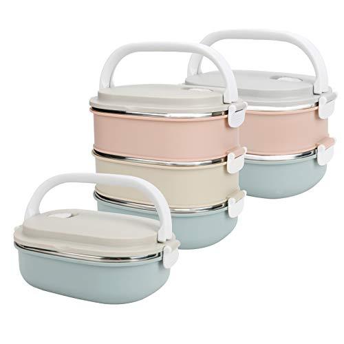 LINGSFIRE Isolierte Brotdose aus Edelstahl 3Layers Tragbarer Lunchbox Behälter Ohne Plastik BPA Stapelbar Bento Box Thermo Auslaufsicher Lebensmittelbehälter für Kinder Schule Erwachsene Arbeit