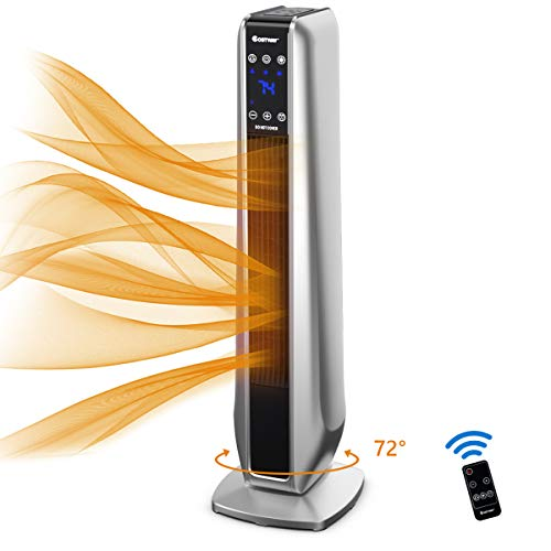 COSTWAY Ceramic Heater, 750W/1500W Electric Tower Heater with 3 Modes, 8H Timer, Remote Control & LED Screen, Overheat & Tip-Over Protection, Portable Space Heater for Bedroom, Home& Office, Silver