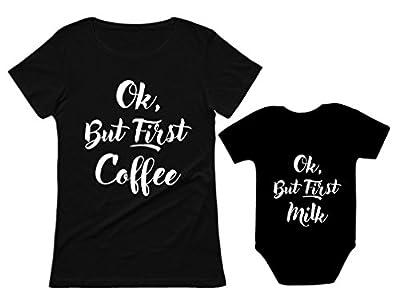 OK But First Coffee - Milk Mom & Son/Daughter Matching Set Mom & Baby Shirts Mom Black Medium/Baby Black 12M (6-12M)