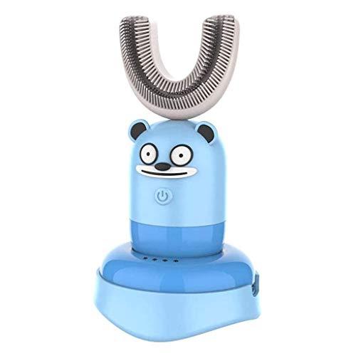 U-vormige tandenborstel Sonic oplaadbare elektrische tandenborstel Automatisch 360 graden tandenborstel Ultrasoon Zachte siliconen voor 6-12 jaar oude peuters en kinderen,Blue
