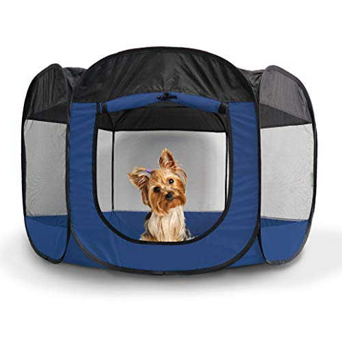 Furhaven Pet Playpen - Indoor/Outdoor Mesh Open-Air Playpen & Exercise Pen Tent House Playground for Dogs & Cats, Sailor Blue, Small Dog Playpens Supplies Top
