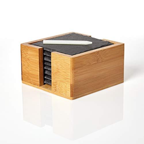 Minuma® Schieferplatten Untersetzer Set 8-teilig | 10 x 10 cm aus Naturgestein in Bambusbox zum Schutz von Oberflächen| vielseitig einsetzbar z.B. als Untersetzer oder Servierplatte | edle Naturoptik