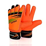 WARRIOR - Guantes de portero de fútbol para niños y adultos, guantes de portero de fútbol con protección de palmas súper agarre – naranja (5 – Apto para 9 – 12 años)