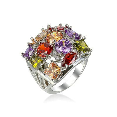 Bishilin Alianza de Boda Plateada para Mujer Plata Ajuste Cómodo Diamante Completo Anillo de Promesa de Aniversario con Vistoso Redonda Circonita Tamaño:20
