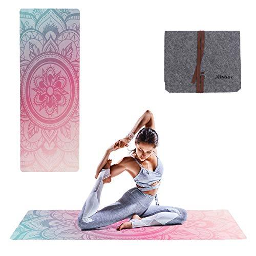 Xlabor Mandala - Esterilla de pilates con fieltro (1,5 mm de grosor, 183 x 68 cm, diseño...