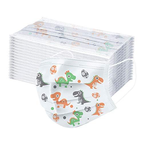 Protección para niños 3 Capas Transpirables Desechables con Lindo Paquete de impresión de Dinosaurio 50 Unidades (Blanco)