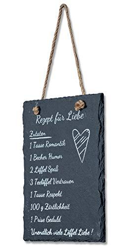 levandeo Wandbild Schiefer 15x20cm Schild Liebe Schieferplatte Sprüche Deko Tafel Dekobild Hochzeit Geschenk Liebesrezept