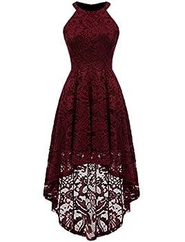 Dressystar 0028 Halter Floral Lace Cocktail Party Dress Hi-Lo Bridesmaid Dress Burgundy M