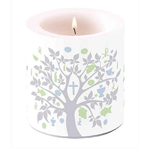 Floral-Direkt Tischdeko Set Kommunion 10 Pers Lebensbaum Silber Kerze Servietten Fische Glaube, AUSF:Eine Kerze