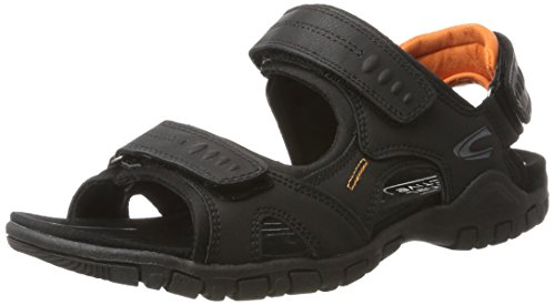 camel active Herren Ocean 11 Sandalen, Schwarz (Black (orange) 06), 43 EU