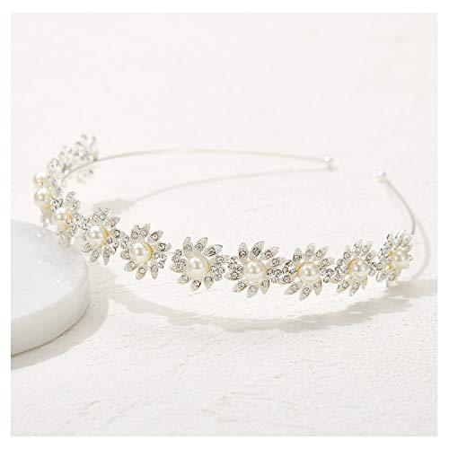 SWEETV Silber Perle Haarreif Hochzeit Blume Haarband Braut Haarschmuck Hochzeit Diadem Tiara für Damen Mädchen