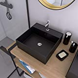 Squary Dark - Lavabo rettangolare in ceramica nera, 40 x 40 x 14 cm, colore: Nero