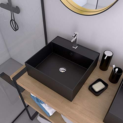 AURLANE SQUARY Dark - Lavabo de mesa cuadrado de cerámica, 40 x 40 x 14 cm, color negro