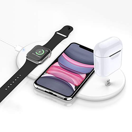 3 en 1 Chargeur sans Fil Rapide, Chargeur à Induction Fast Qi Station de Charge pour A pple Watch 5/4/3/2/1 iPhone11/Pro/X/XR/XS/8/Plus, AirPods1,2 AirPods Pro Samsung Galaxy S10 / S9 / S8, Note 10/9