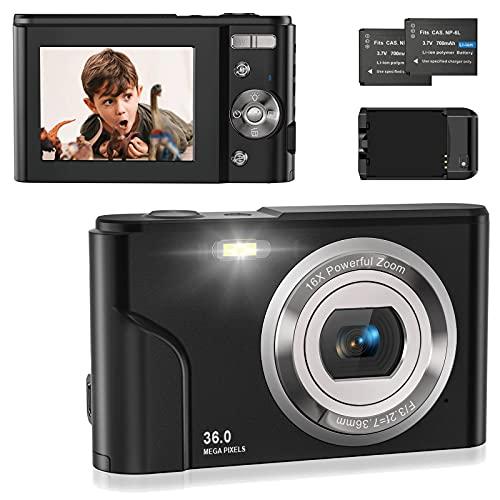 Fotocamera Digitale Compatte 1080P HD Macchina Fotografica Digitale, 36 MP 2,4' LCD, Zoom Digitale 16X,Vlogging Mini Fotocamera Digitale con Caricabatterie,2 Batteria,per Bambini/Principianti