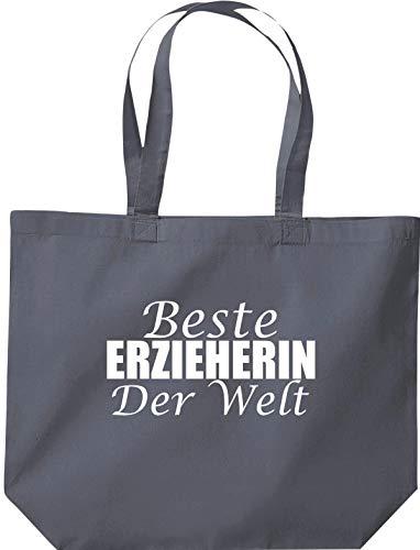 Shirtstown, borsa con scritta in lingua tedesca 'Beste Ereerin der Welt', con logo e scritta in lingua tedesca, Grigio (grigio.), 35 cm x 39 cm x 13 cm