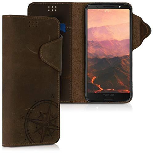 kalibri Motorola Moto G6 Plus Hülle - Leder Handyhülle für Motorola Moto G6 Plus - Handy Wallet Case Cover - Kompass Vintage Design Braun